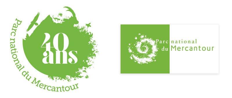 Logotype du Parc national du Mercantour et logotype des 40 ans du PNM