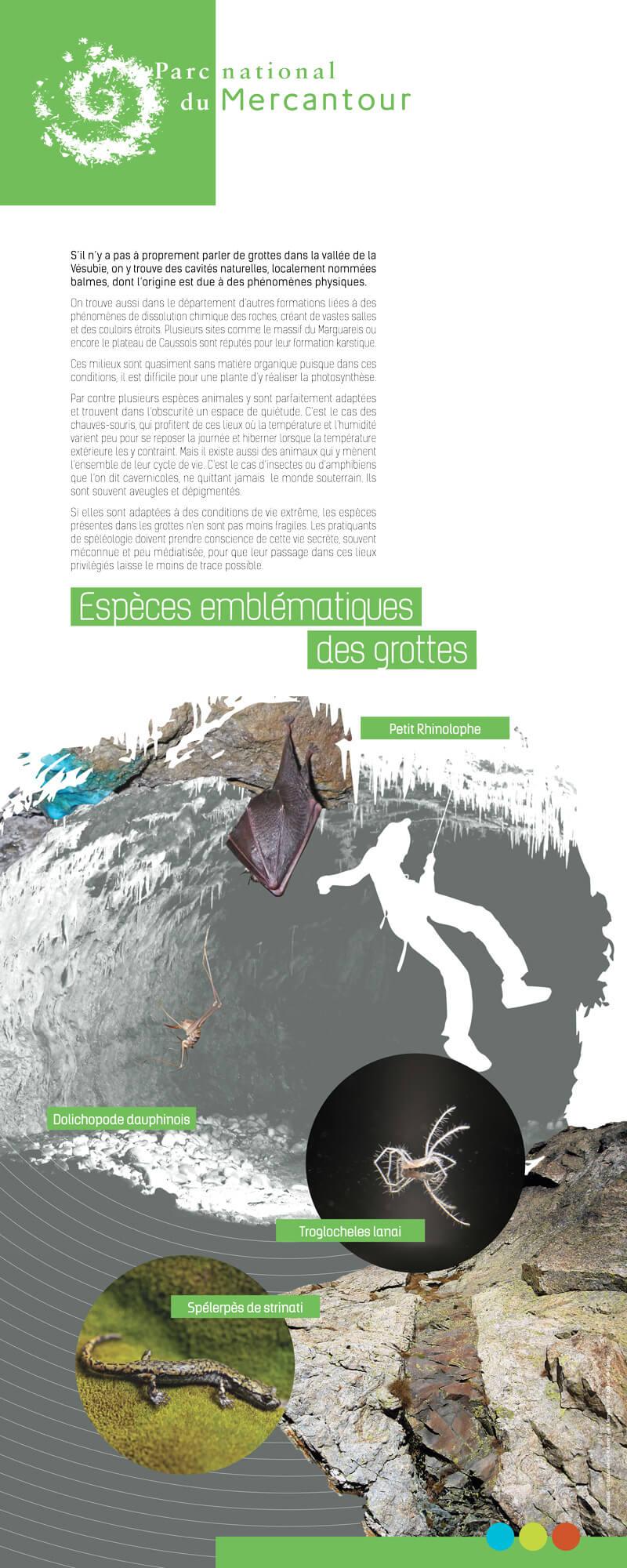 Panneau d'exposition grotte, Parc National du Mercantour